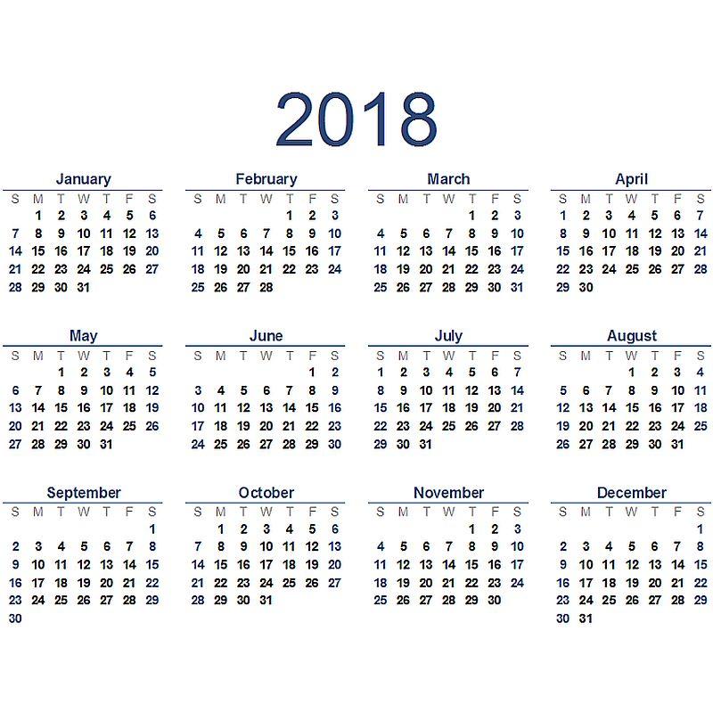 2018-kalender
